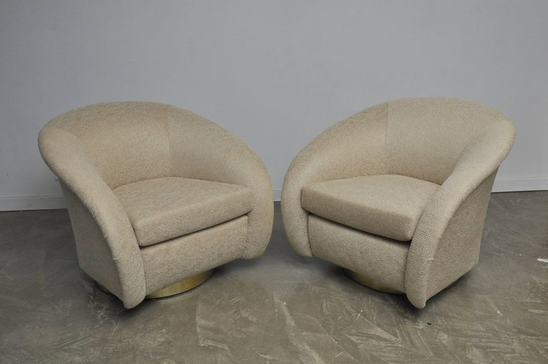 Milo Baughman for Directional brass base swivel chairs. Fully restored and reupholstered.