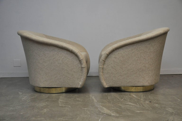 American Pair of Milo Baughman Swivel Chairs on Brass Bases For Sale