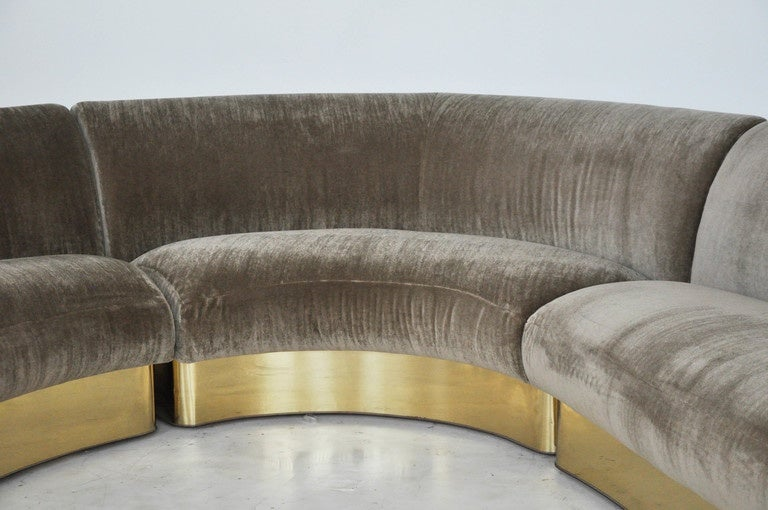 American Milo Baughman Brass Base Curved Sectional Sofa For Sale