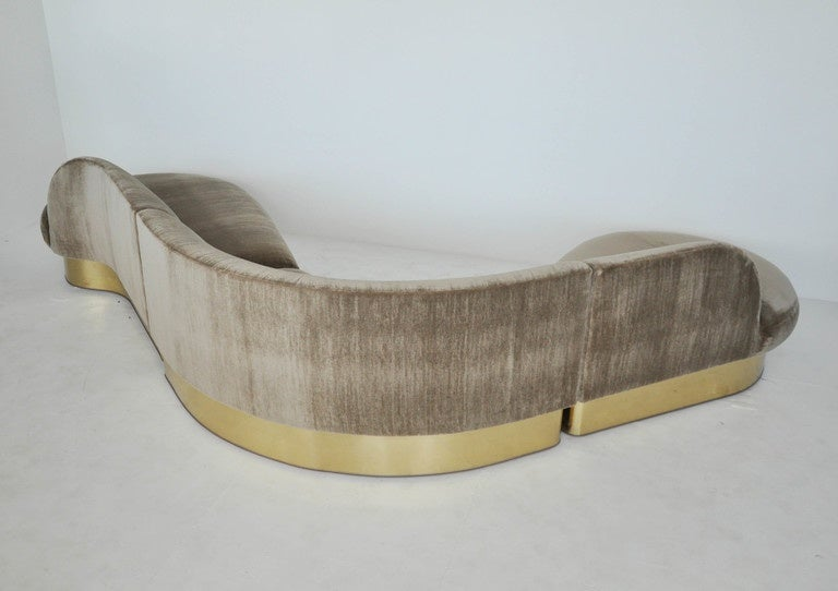 20th Century Milo Baughman Brass Base Curved Sectional Sofa For Sale