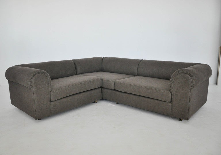 Two-piece sectional sofa designed by Edward Wormley for Dunbar. Newly upholstered in woven Great Plaines fabric.