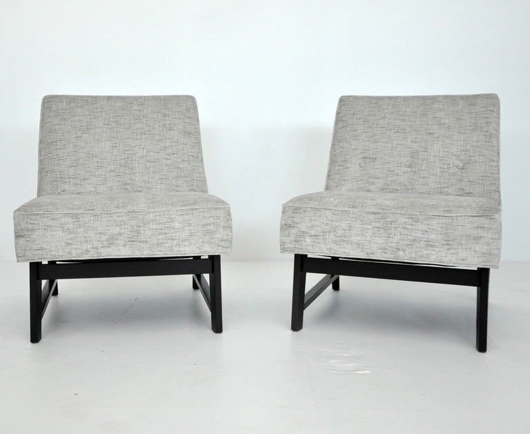 Mid-Century Modern Dunbar Slipper Chairs, Edward Wormley For Sale