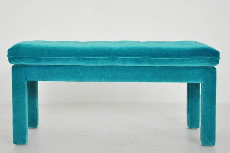 Milo Baughman Turquoise Velvet Bench 2