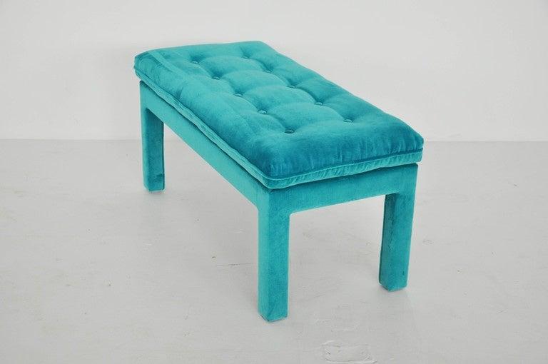 Milo Baughman Turquoise Velvet Bench 3