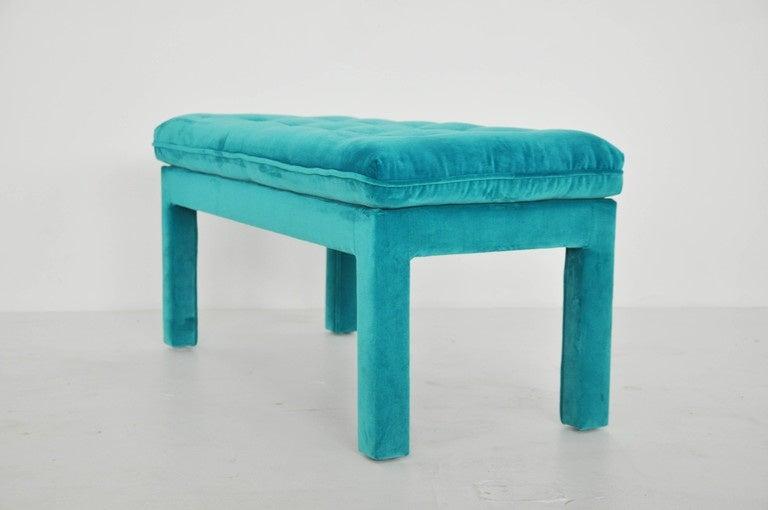 Milo Baughman Turquoise Velvet Bench 4