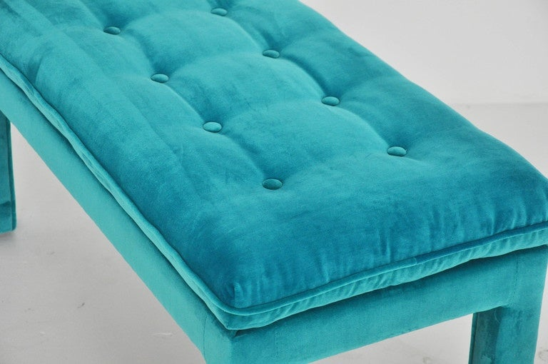 20th Century Milo Baughman Turquoise Velvet Bench For Sale