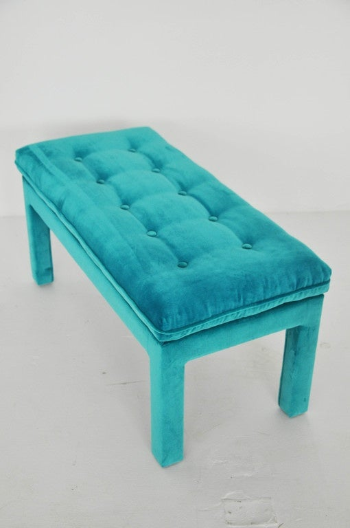 Milo Baughman Turquoise Velvet Bench For Sale 2