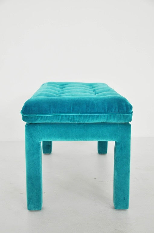 Milo Baughman Turquoise Velvet Bench For Sale 3