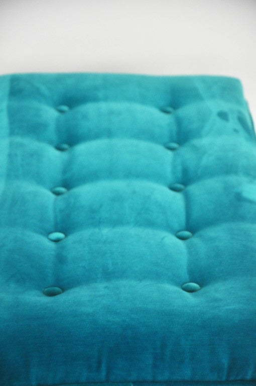 Milo Baughman Turquoise Velvet Bench For Sale 4