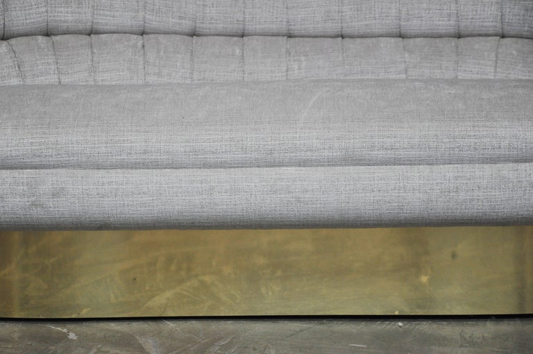 Mid-Century Modern Vladimir Kagan Crescent Sofa on Brass Base For Sale