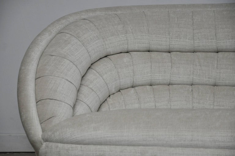 American Vladimir Kagan Crescent Sofa on Brass Base For Sale