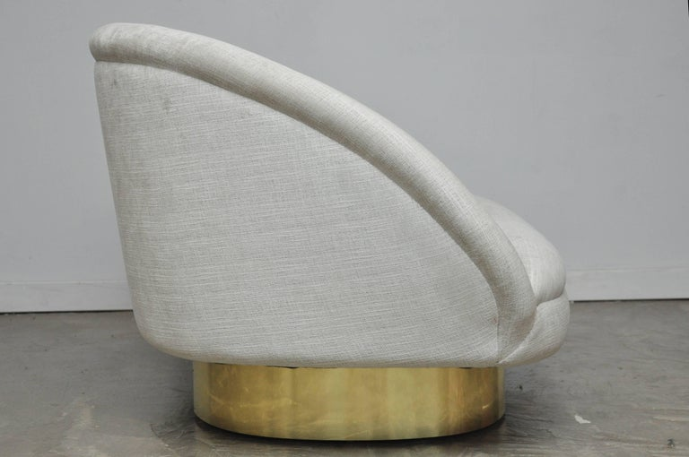 Vladimir Kagan Crescent Sofa on Brass Base For Sale 1