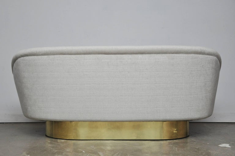 Vladimir Kagan Crescent Sofa on Brass Base For Sale 2