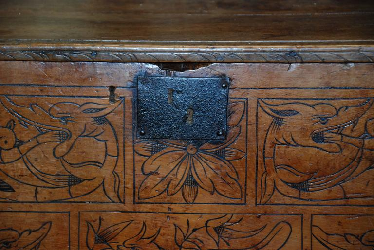 17th century carved chestnut Portuguese coffer.