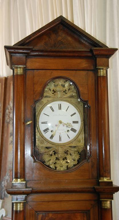 Early 19th Century French Empire Walnut Case Clock For Sale 2