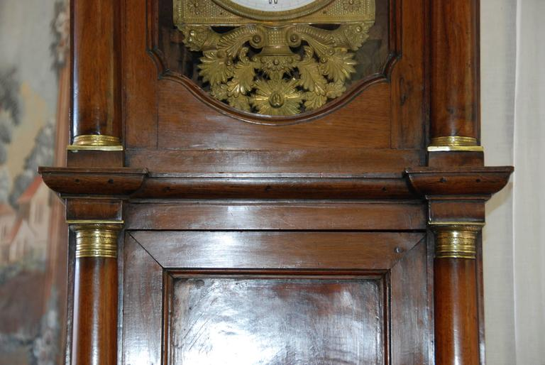 Early 19th Century French Empire Walnut Case Clock For Sale 3