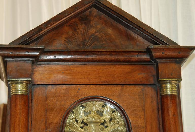 Early 19th Century French Empire Walnut Case Clock For Sale 4