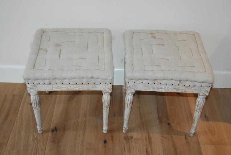 18th Century and Earlier Signed Pair of Swedish Period Gustavian Stools For Sale