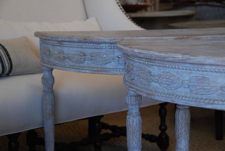 Pair of Swedish Carved Demilune Tables 2