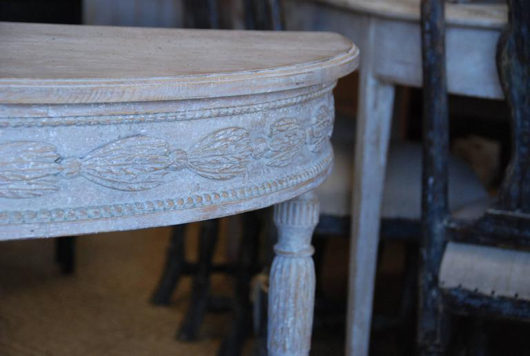 Pair of Swedish Carved Demilune Tables 3