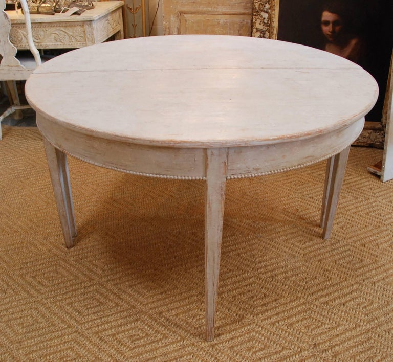 Painted Swedish Gustavian Oval Dining Table For Sale