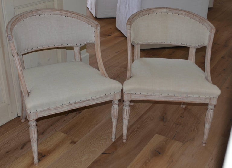 Pair of 19th Century Swedish Barrel Back Chairs For Sale 5