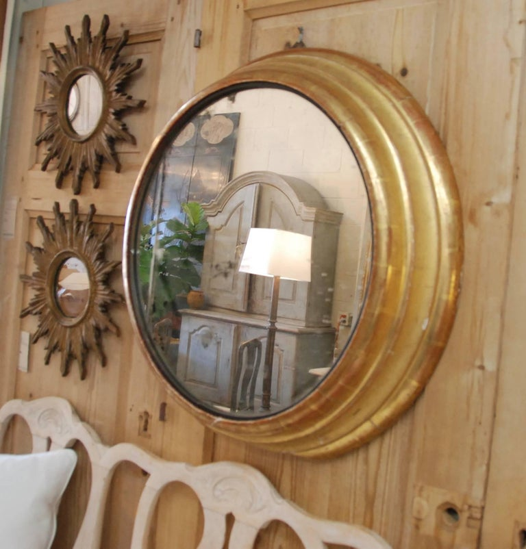 19th Century French Round Gilded Mirror 3