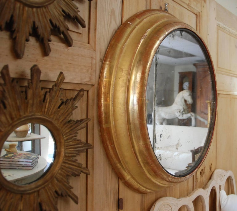 19th Century French Round Gilded Mirror 5