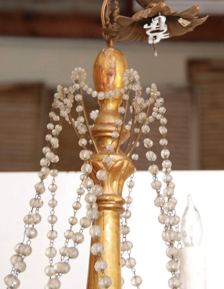 19th Century Italian Wood and Crystal Chandelier 2