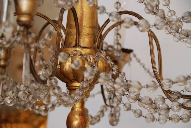 19th Century Italian Wood and Crystal Chandelier 3