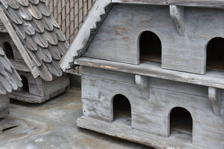 Lovely large wooden vintage birdhouse from England. Shingled wood roof with scalloped front and sides. Great aged grey patina..... Great for inside or out....