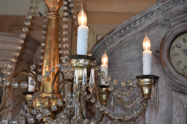 19th Century Italian Wood and Crystal Chandelier For Sale 1