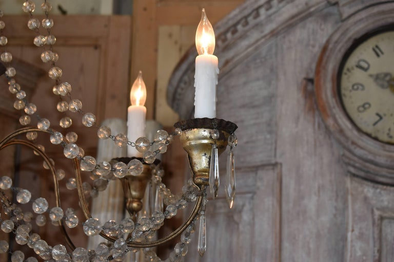 19th Century Italian Wood and Crystal Chandelier For Sale 2