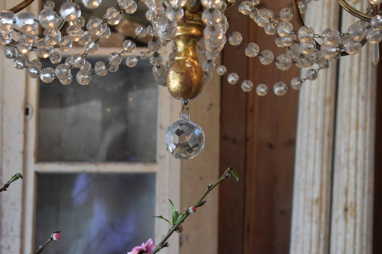 19th Century Italian Wood and Crystal Chandelier For Sale 3