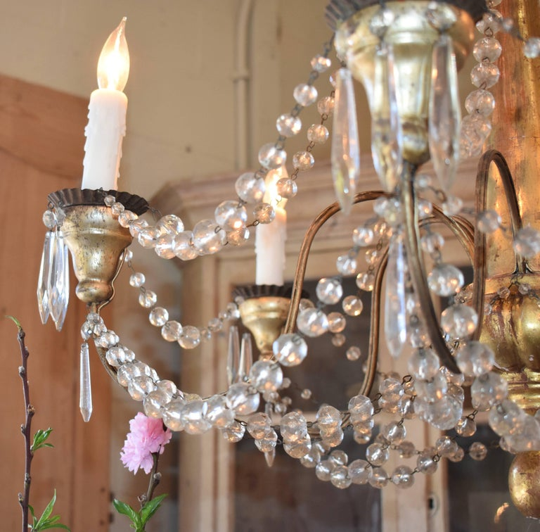 19th Century Italian Wood and Crystal Chandelier For Sale 4
