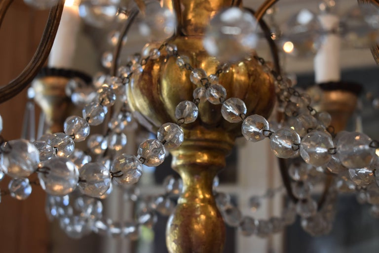 19th Century Italian Wood and Crystal Chandelier For Sale 6