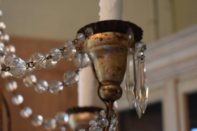 19th Century Italian Wood and Crystal Chandelier For Sale 9