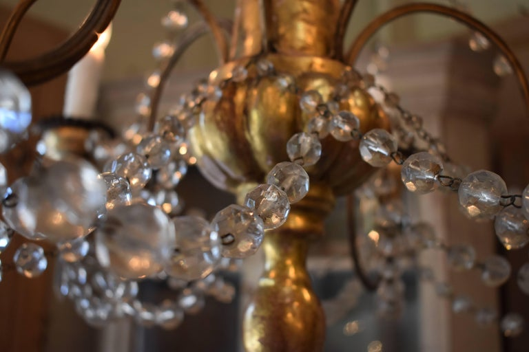 19th Century Italian Wood and Crystal Chandelier For Sale 12