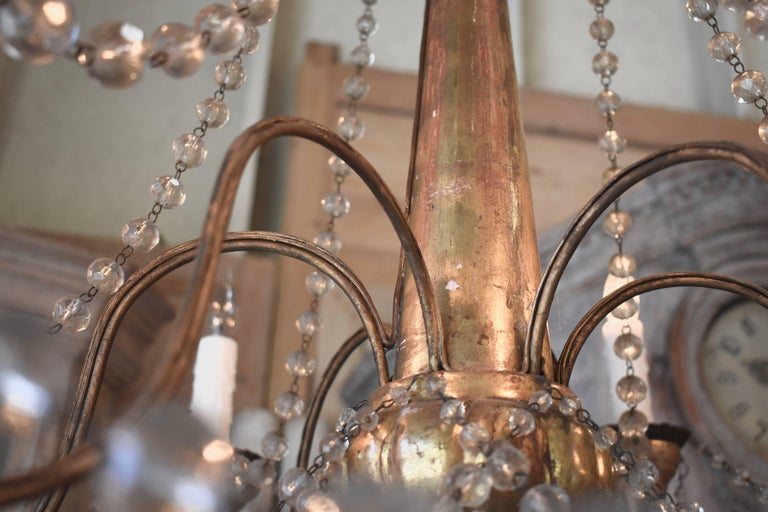 19th Century Italian Wood and Crystal Chandelier For Sale 13