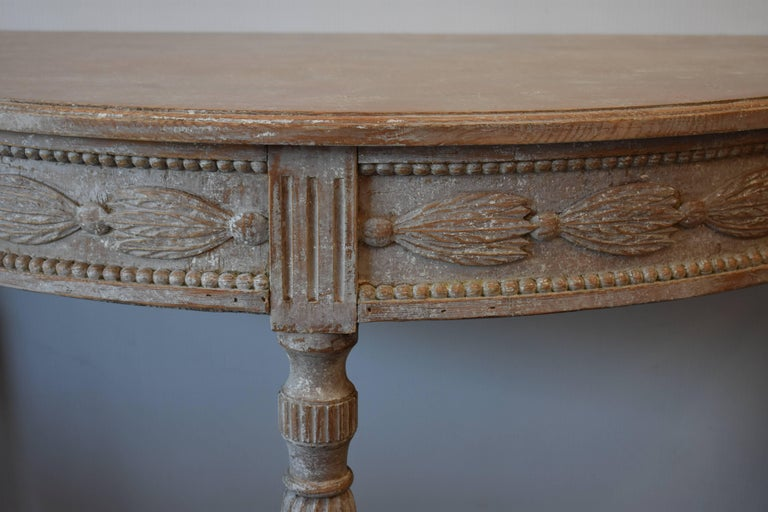 Gustavian Pair of 19th Century Swedish Demilune Tables For Sale