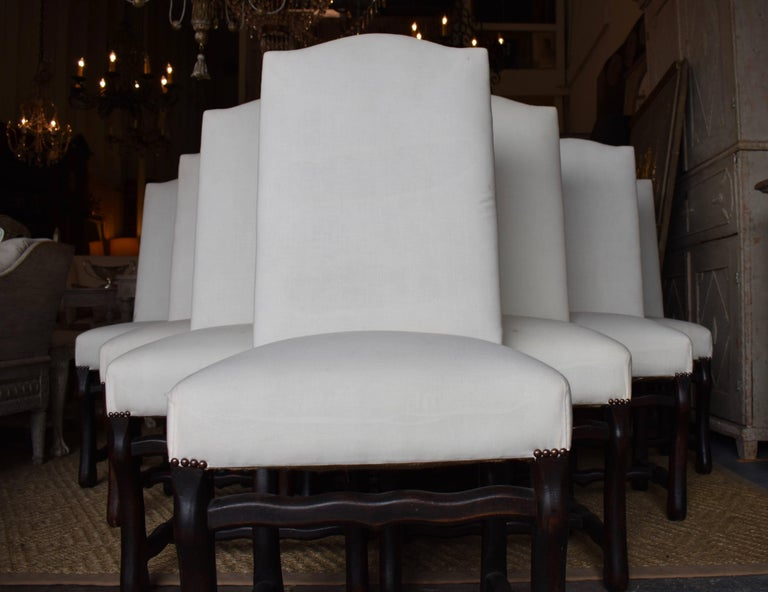 Contemporary Set of Ten French Os de Mouton Dining Chairs For Sale