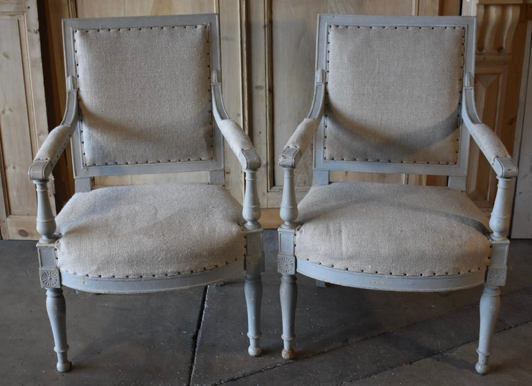 Pair of 18th Century French Directoire Bergère Chairs For Sale 10
