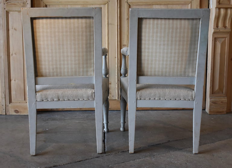 Pair of 18th Century French Directoire Bergère Chairs For Sale 6