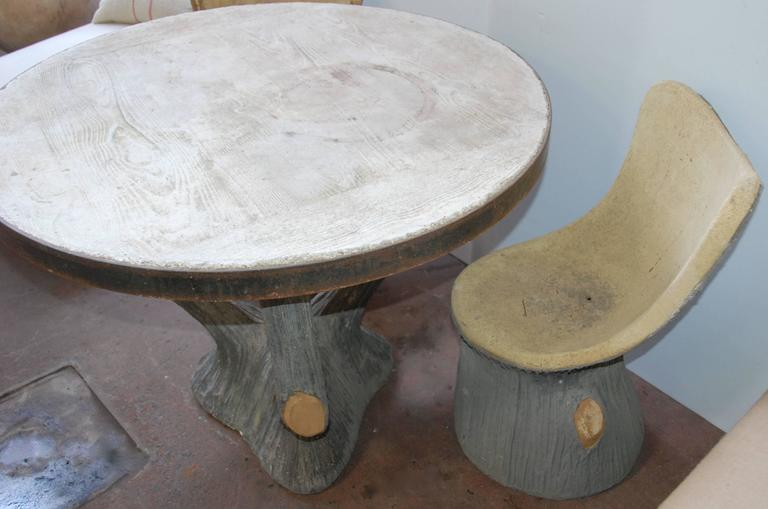 French Faux Bois Garden Table and Chairs For Sale 1