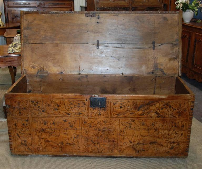 Chestnut 17th Century Carved Renaissance Portuguese Coffer For Sale