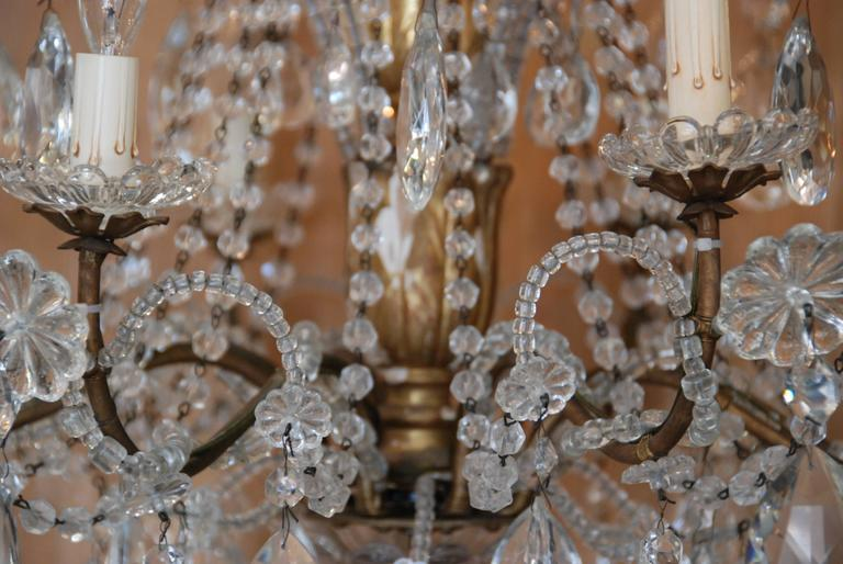 19th Century Italian Crystal and Gilded Wood Chandelier For Sale 3