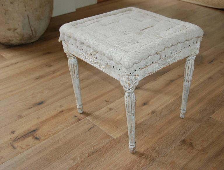 Signed Pair of Swedish Period Gustavian Stools In Excellent Condition For Sale In Encinitas, CA