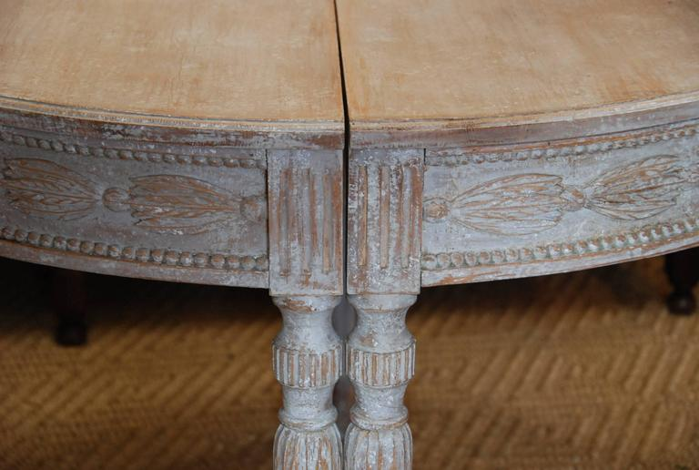 Pair of Swedish Carved Demilune Tables 4