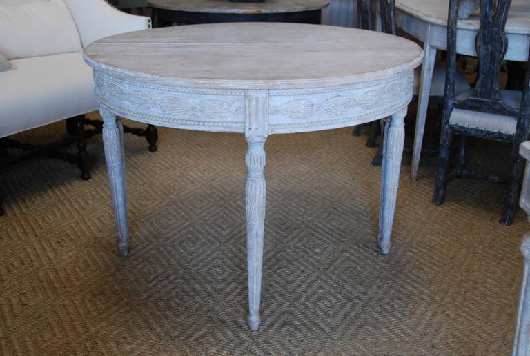 Pair of Swedish Carved Demilune Tables 8