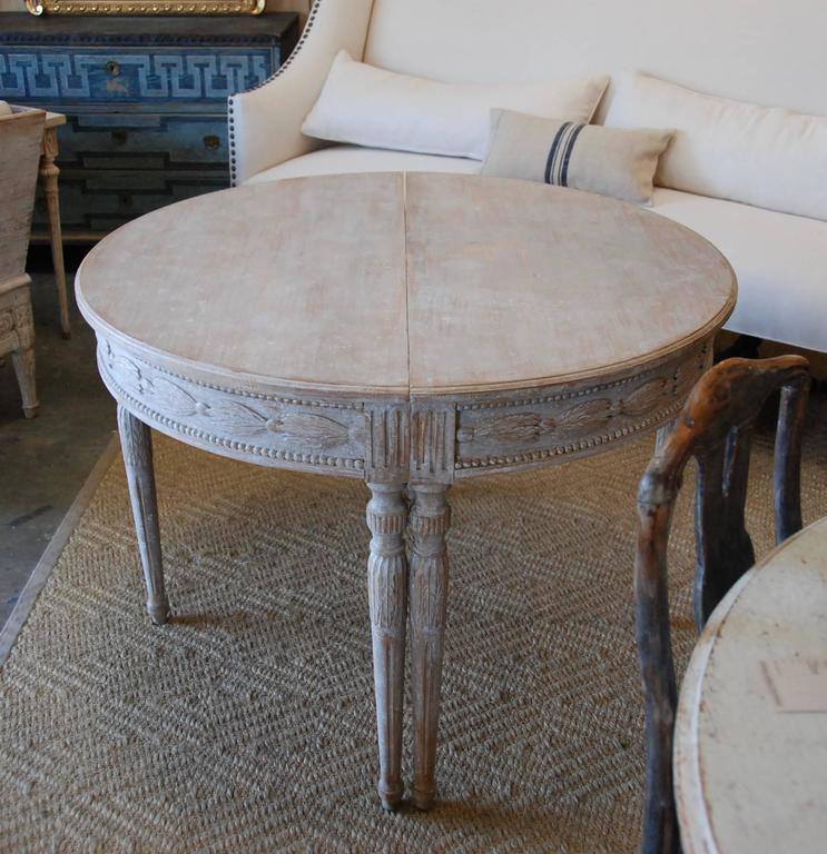 Pair of Swedish Carved Demilune Tables 9